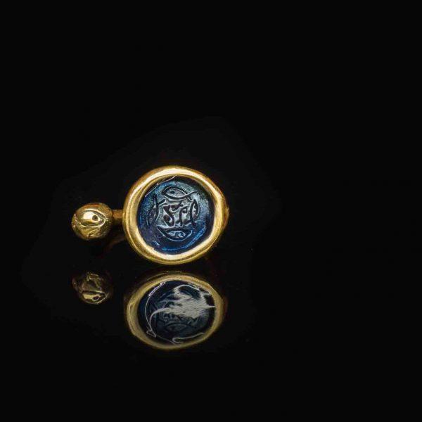 gioielli artigianali anello grande smalto blu di pesci che volano